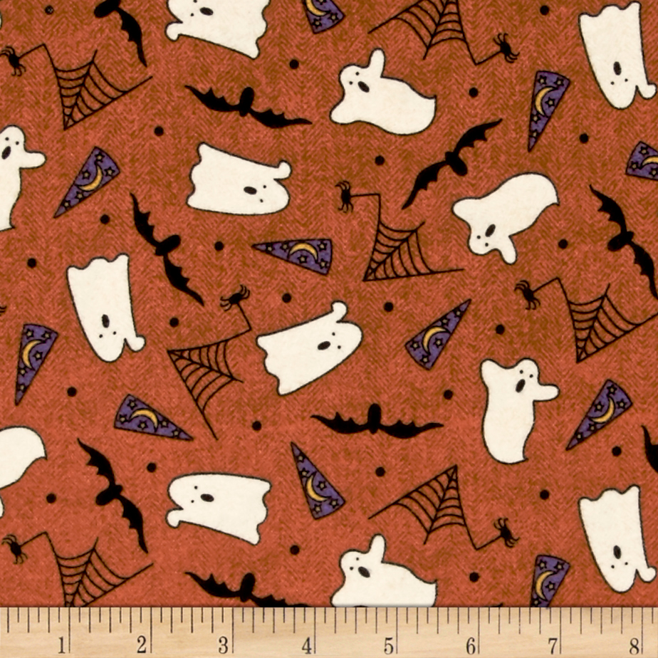 Pumpkin Party Flannel Ghosts And Bats Orange Fabric by E. E. Schenck in USA