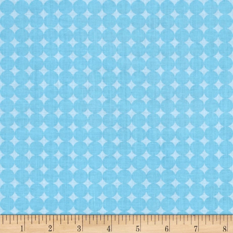 Image of Contempo Owls And Pals Round Grid Blue Fabric