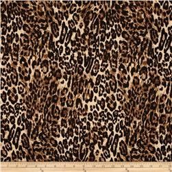 Stretch Polyester Knit Cheetah Brown/Tan