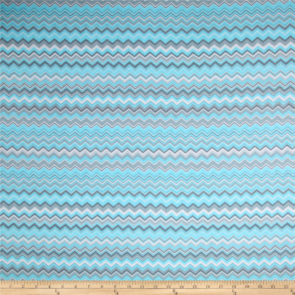 Chevron Flannel Aqua/Grey