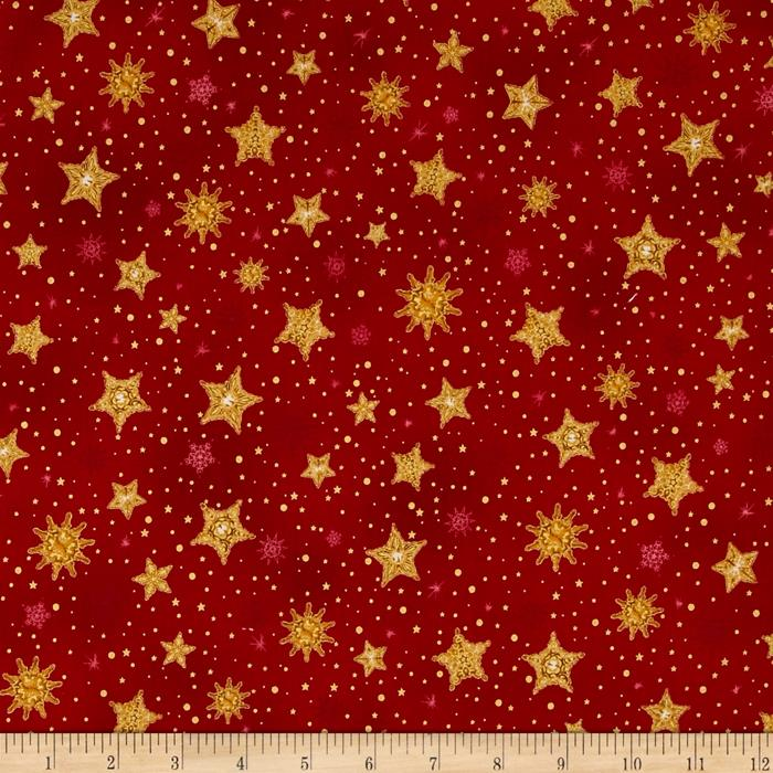 Kaufman Radiant Holiday Metallic Stars Red