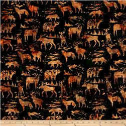 Island Batik Woodland Animals Green/Brown
