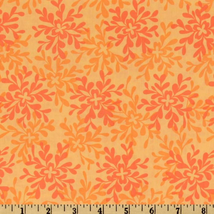 Valori Wells Nest Cotton Voile Leaves Tangerine