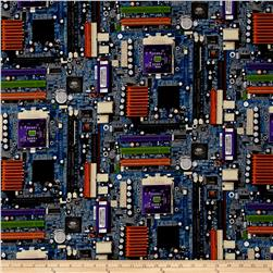 Silver Circuits Metallic Circuit Boards Blue