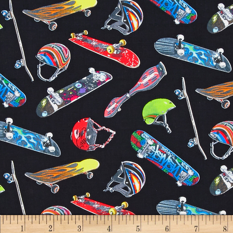Sports Skateboard Black Fabric