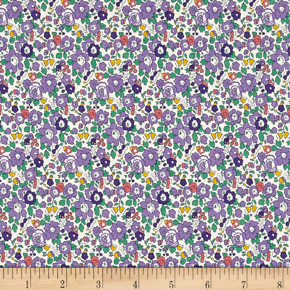 Liberty of London Classic Tana Lawn Betsy Ann White/Purple Fabric by Liberty Of London in USA