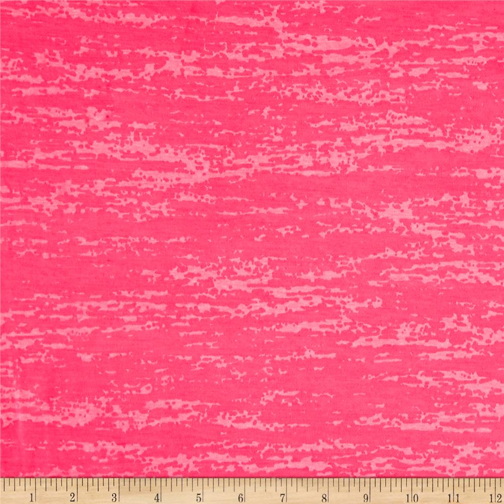 Splash Burnout Jersey Knit Neon Pink Fabric