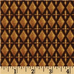 First Noel Nativity Diamond Geometric Metallic Brown