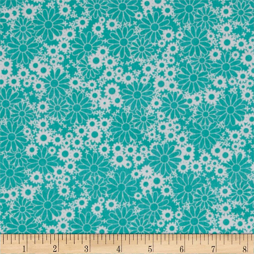 Baby Talk Splash Floral Turquoise/White