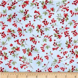 Winter Cardinals Berries Light Blue Fabric