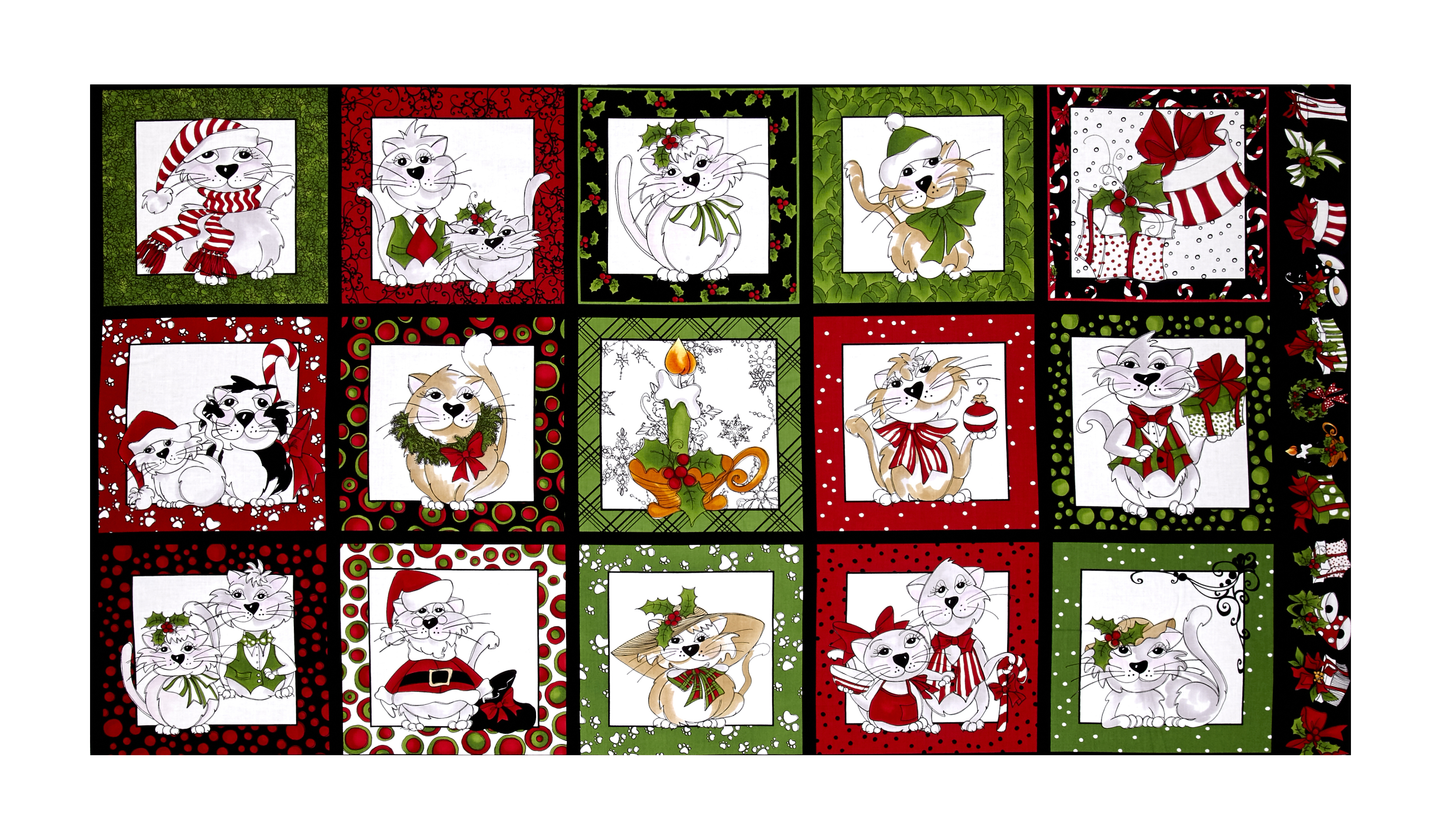 Image of Loralie Designs Kitty Kitty Christmas 23'' Panel Black Fabric