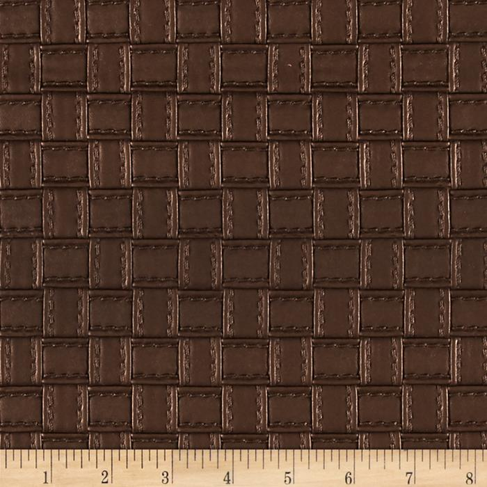 Faux Leather Basketweave Brown