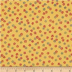 Stone Paisley Flannel Tossed Tiny Flowers Yellow