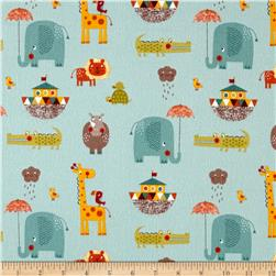 Riley Blake Giraffe Crossing 2 Flannel Main Teal