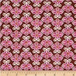 Stretch Rayon Jersey Knit Tribe Flower Pink/Brown