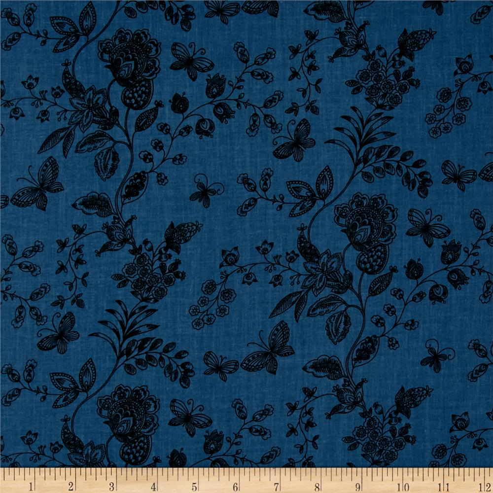 "108"" Wide Quilt Back Floral Butterfly Blue"