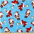 North Pole Greetings Flannel Allover Santas Light Blue