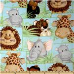 Jungle Babies Fleece Patchwork Animals Blue
