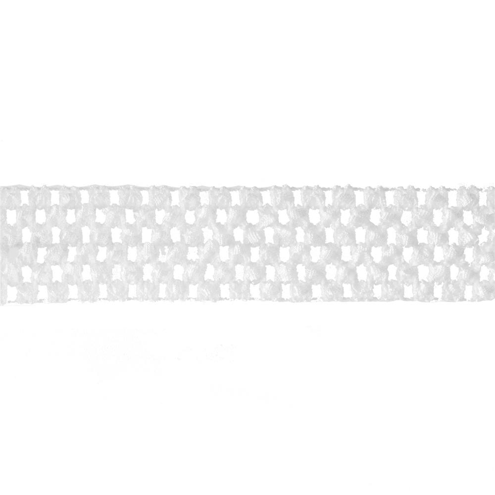 "1 3/4"" Crochet Headband Trim White"
