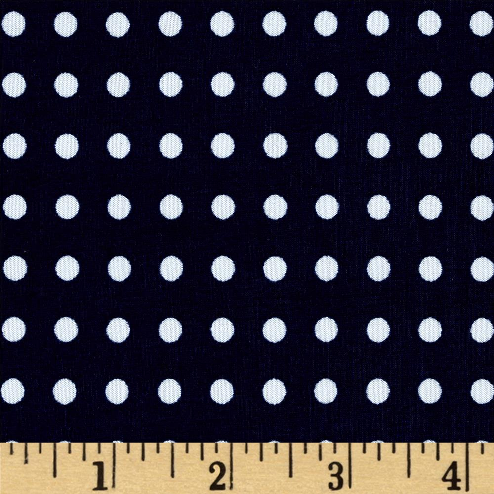 Stretch ITY Jersey Knit Micro Dot Navy and White