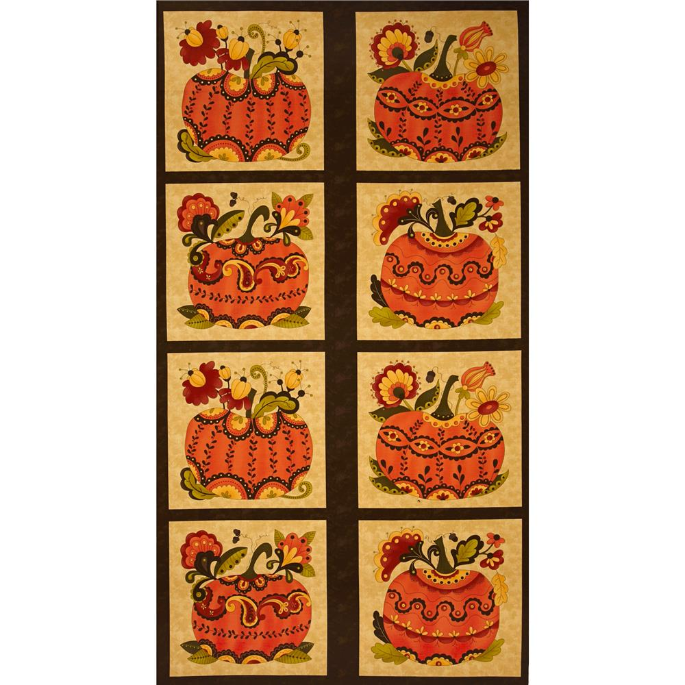 Moda Posh Pumpkins Panel Acorn