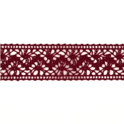 1 1/2'' Crochet Lace Ribbon Burgundy