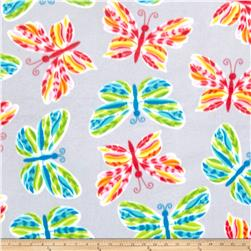 Fleece Tossed Butterflies Gray