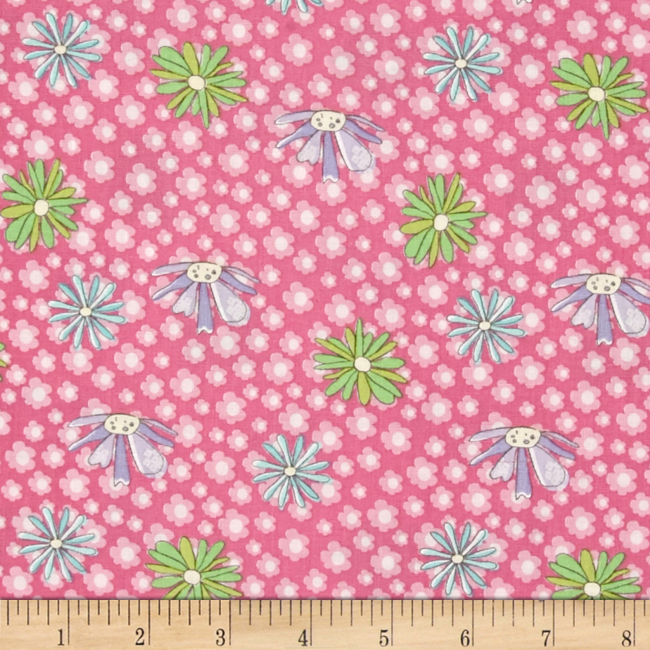 Pretty Little Things Daises Pink Fabric