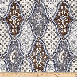 Large Geometric Medallions Cream/Brown/Blue