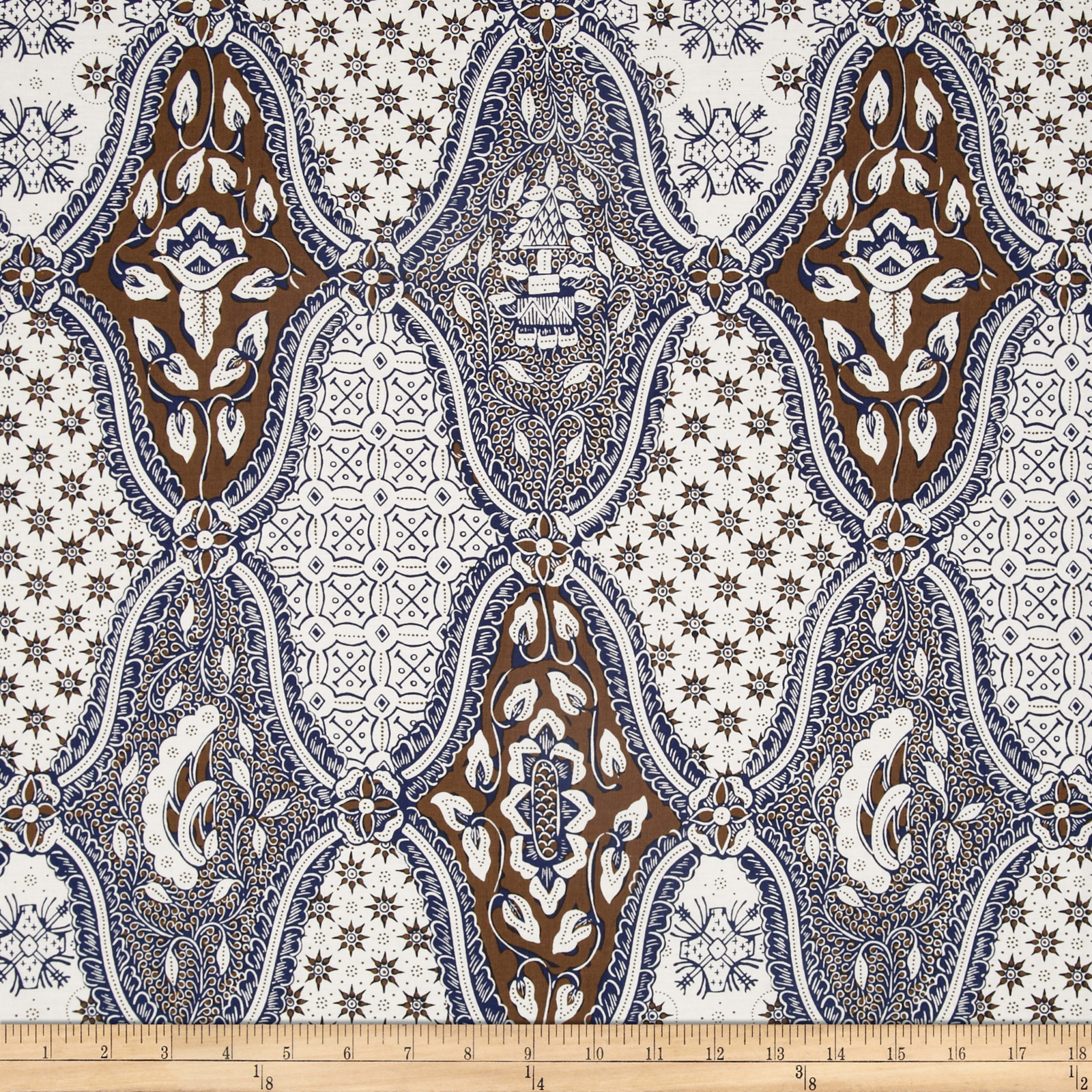 Large Geometric Medallions Cream/Brown/Blue Fabric