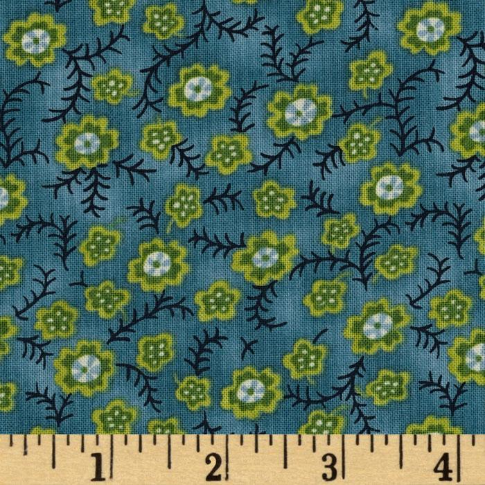 Dear Jane II Floral Vines Blue