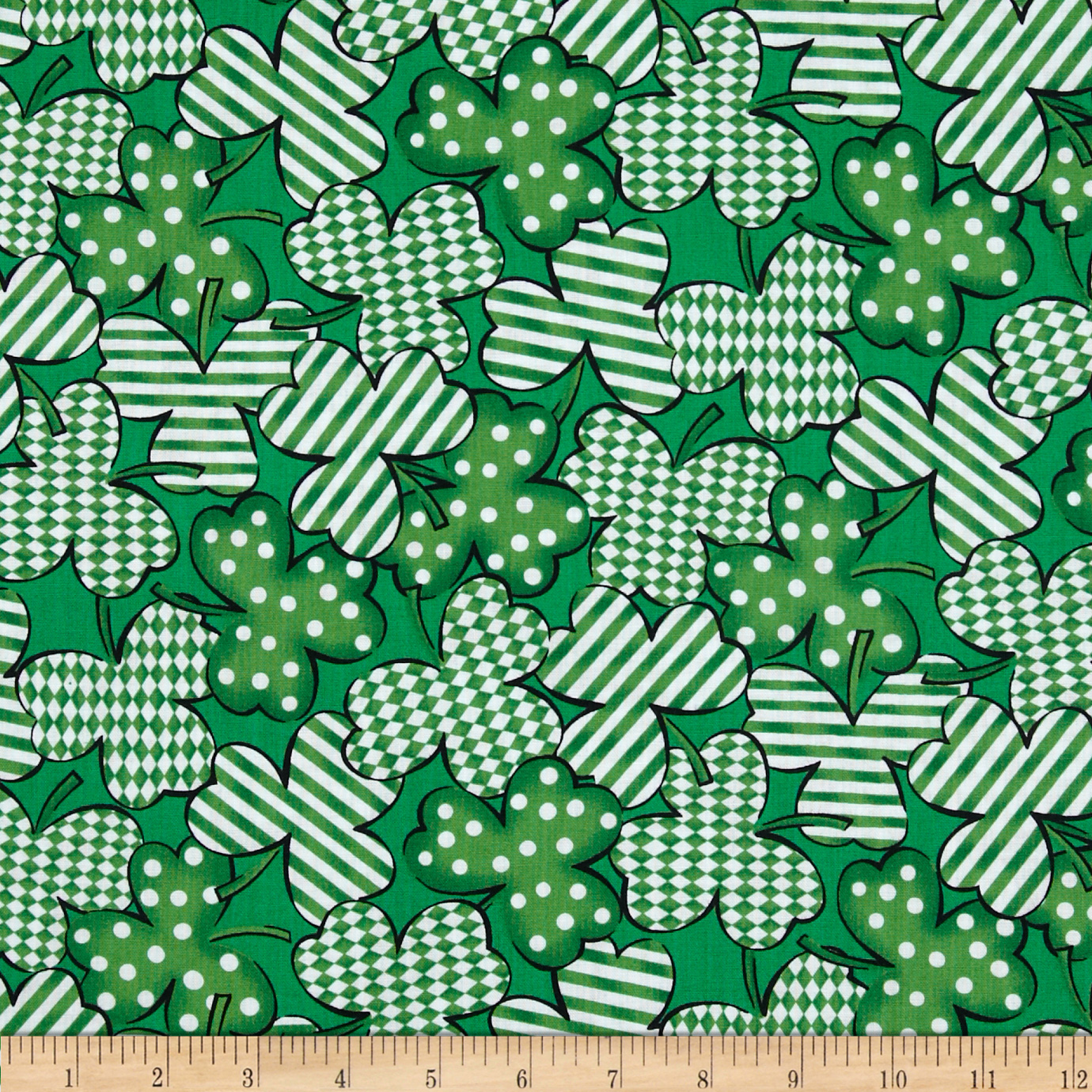 Kiss Me I'm Irish Geometric Clusters Green Fabric