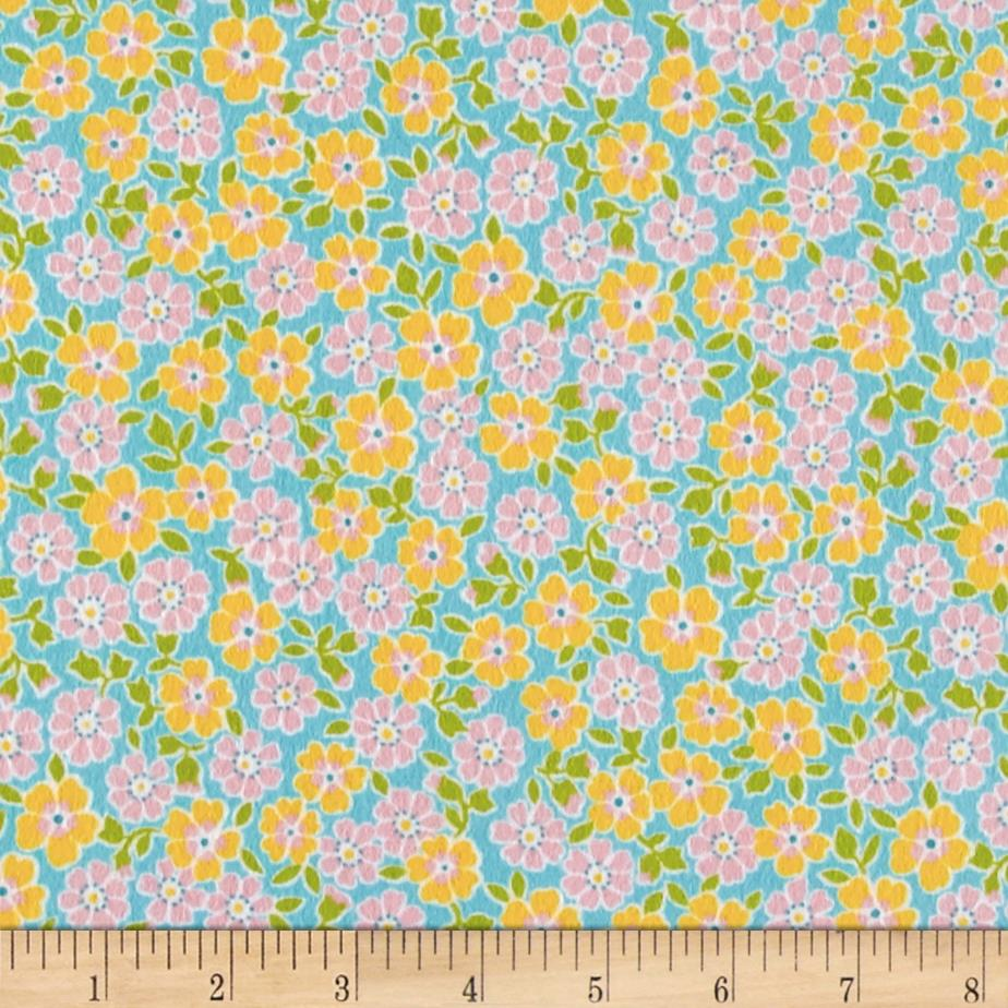 Kaufman Cozy Cotton Flannel Flower Aqua Fabric