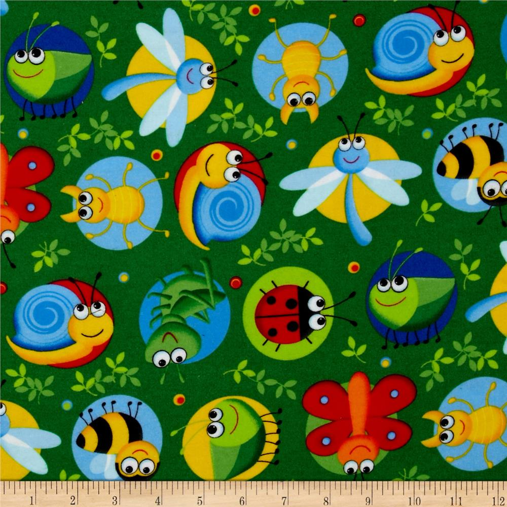 Timeless Treasures Happy Bugs Flannel Bugs on Dots Green