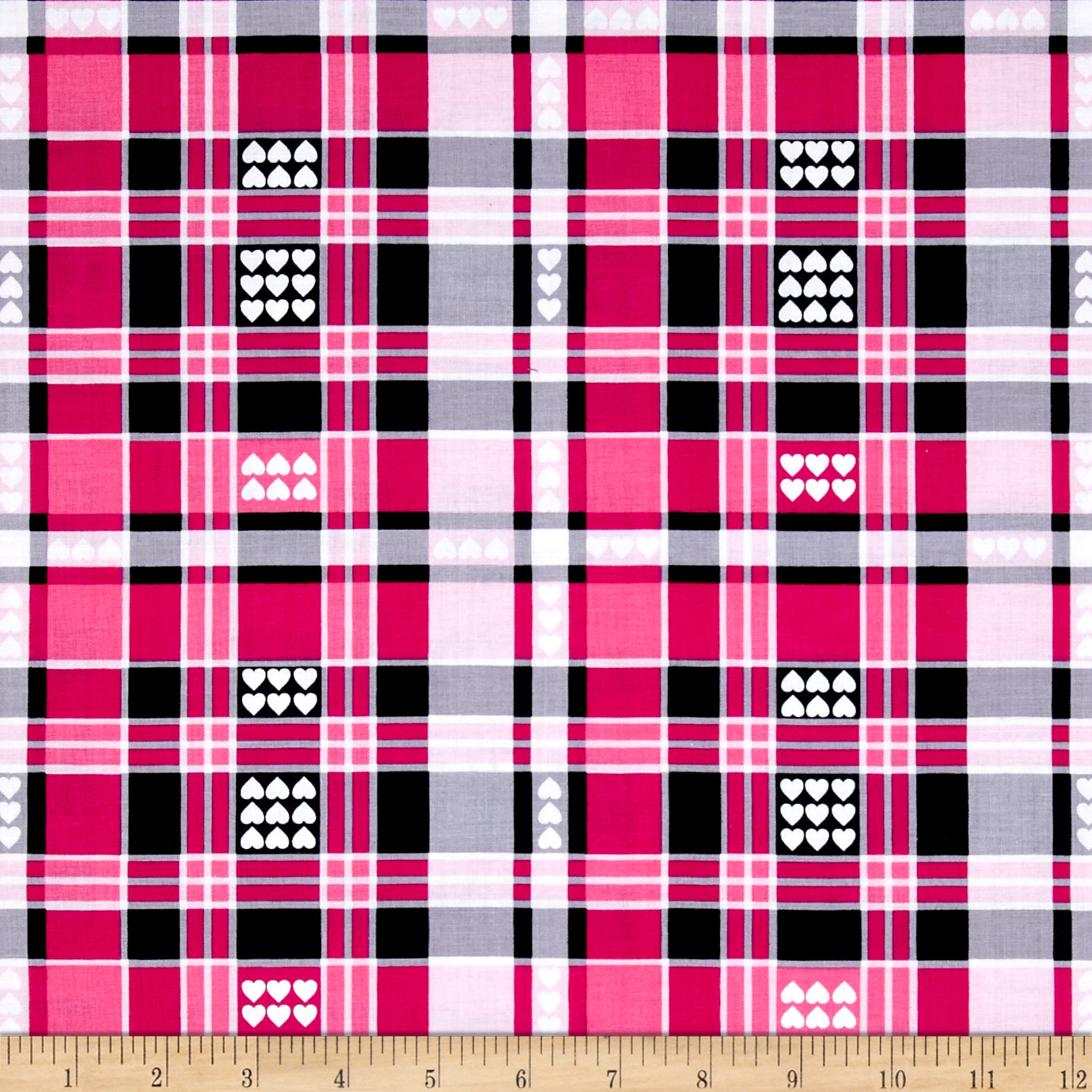 Kanvas Think Pink Luv Plaid Pink Fabric