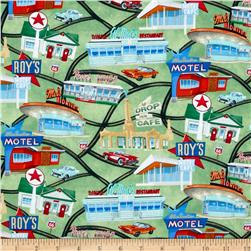 Timeless Treasures Route 66 Map Green Fabric