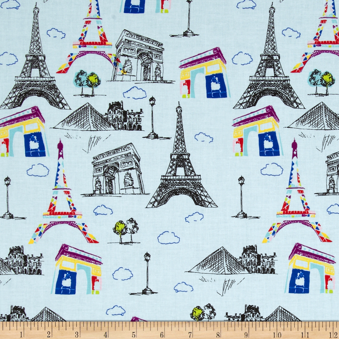 Riley Blake Pepe in Paris Main Blue Fabric