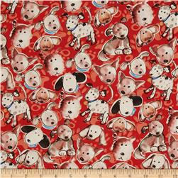 Paw Prints Puppies Red Fabric