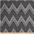 Double Brushed Jersey Knit Milana Ethnic Aztec Black/White