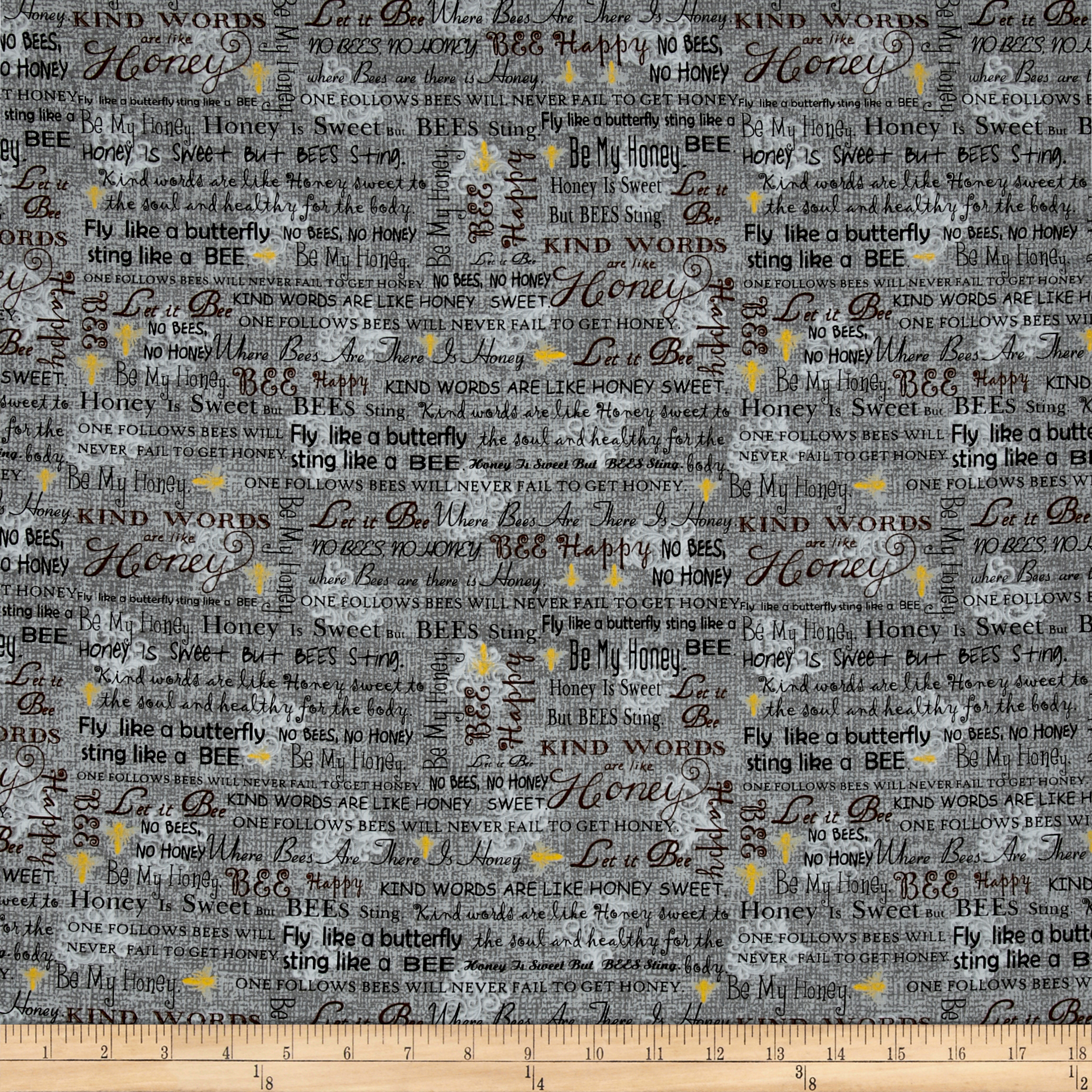 Let it Be Words Charcoal Fabric by Exclusively Quilters in USA