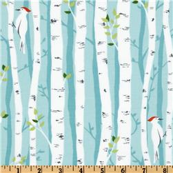 Michael Miller Backyard Baby Birch Forest Aqua Fabric