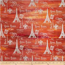 Indian Batik Metallic Eiffel Tower Orange/Brown/Silver