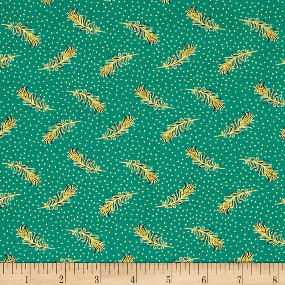 Asian Fanfare Allover Feathers Green