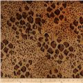 Stretch Panne Velvet Velour Animal Print Brown