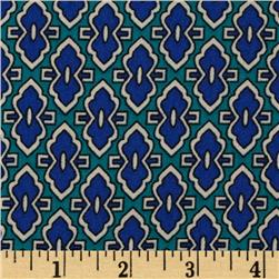 Polyester Crepe Shirting Geometric Blue/Green
