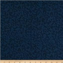 "110"" Wide Quilt Back Flannel Leaf Navy"