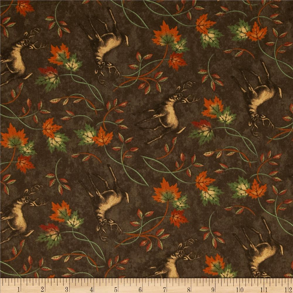 Moda Turning Leaves Deer Print Walnut