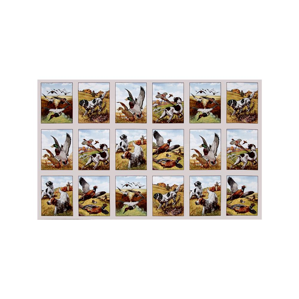 Sports Afield Bird Hunting 23'' Panel Cream Fabric By The Yard