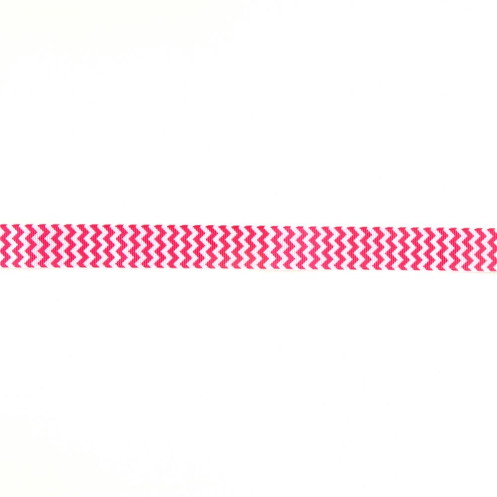 Riley Blake 7/8'' Grosgrain Ribbon Chevron Hot Pink