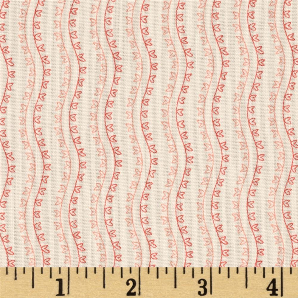 Little Sweethearts Striped Waves Cream/Pink